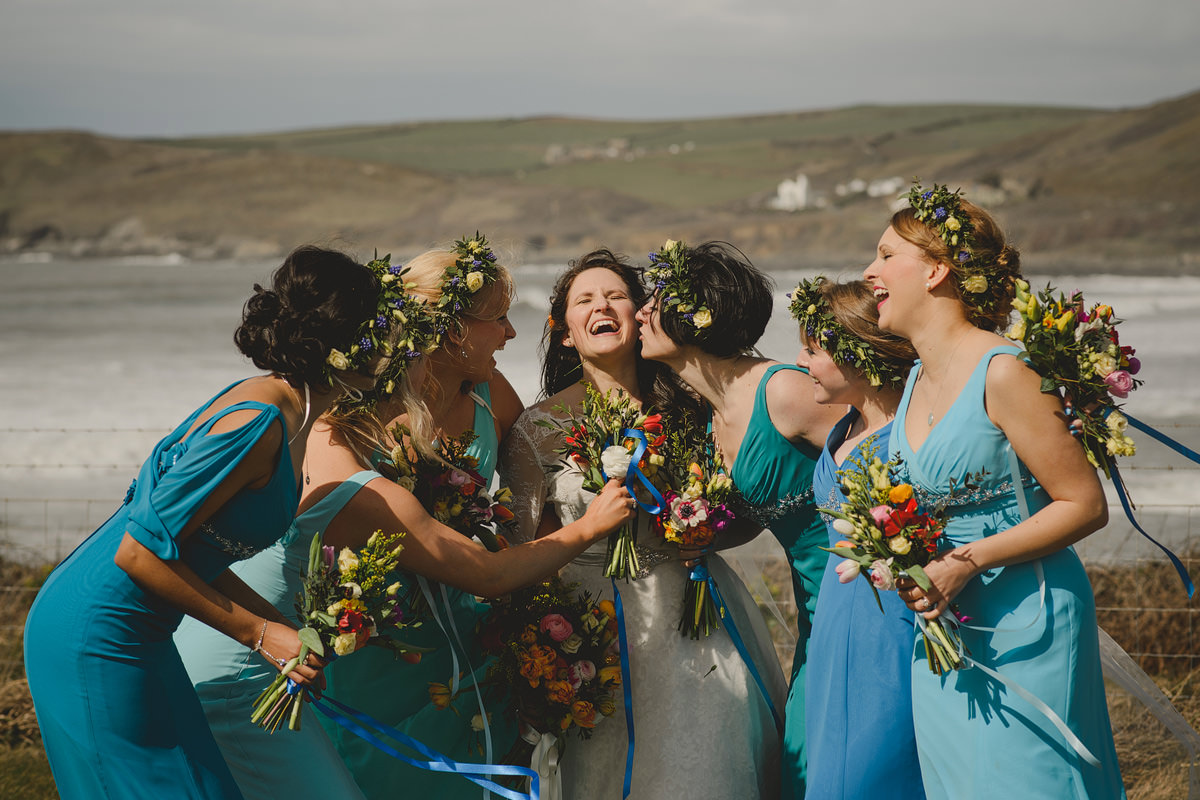 Bridesmaids at a wedding in Croyde