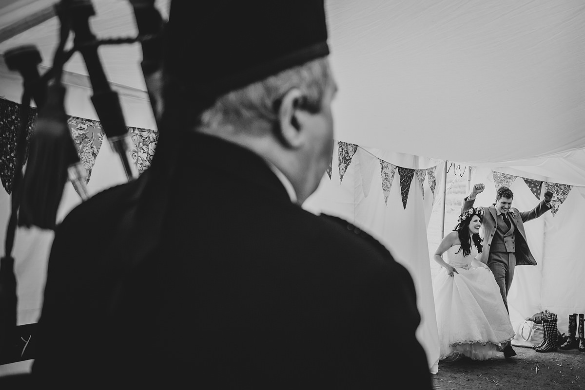 Piper at a Croyde wedding