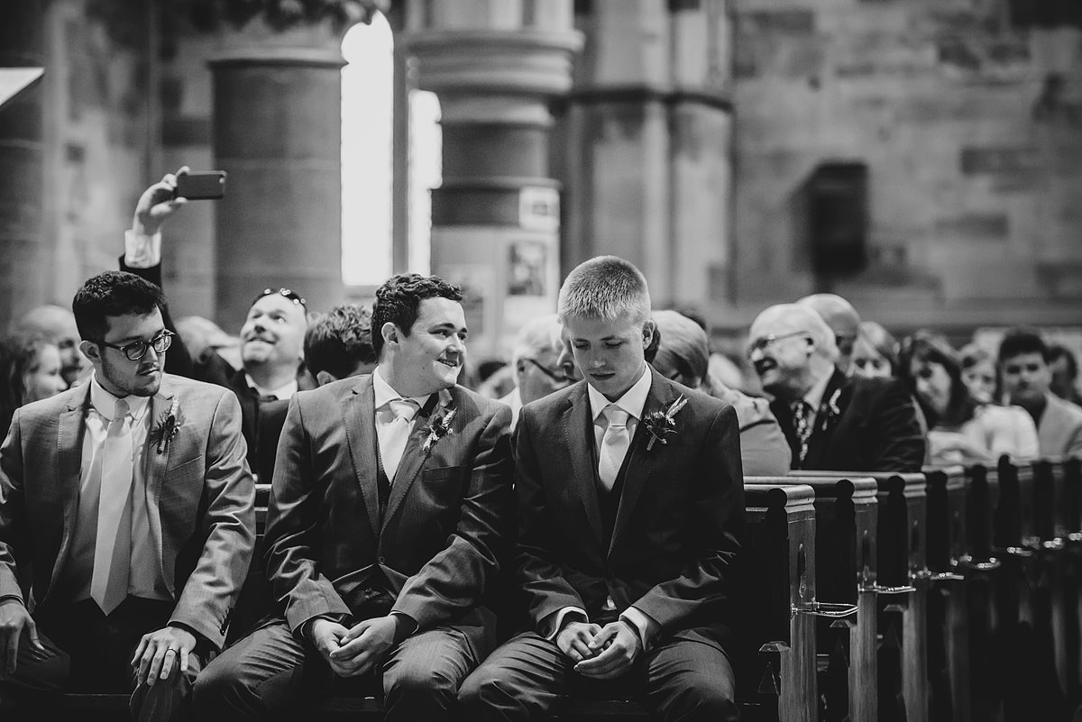 Groom getting nervous at Holy Trinity Church Shrewsbury