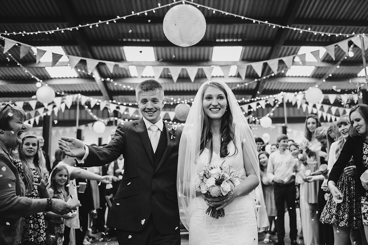 Indoor confetti at a Shropshire wedding