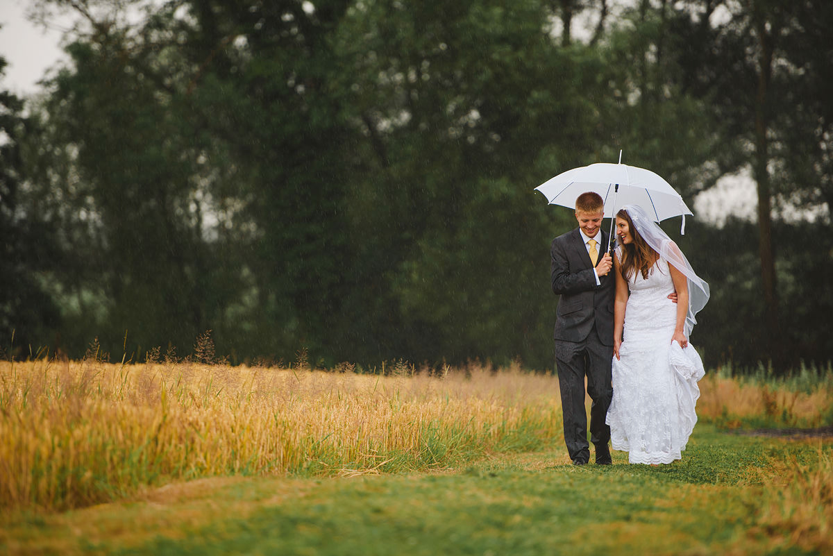 Shropshire wedding photo in the rain