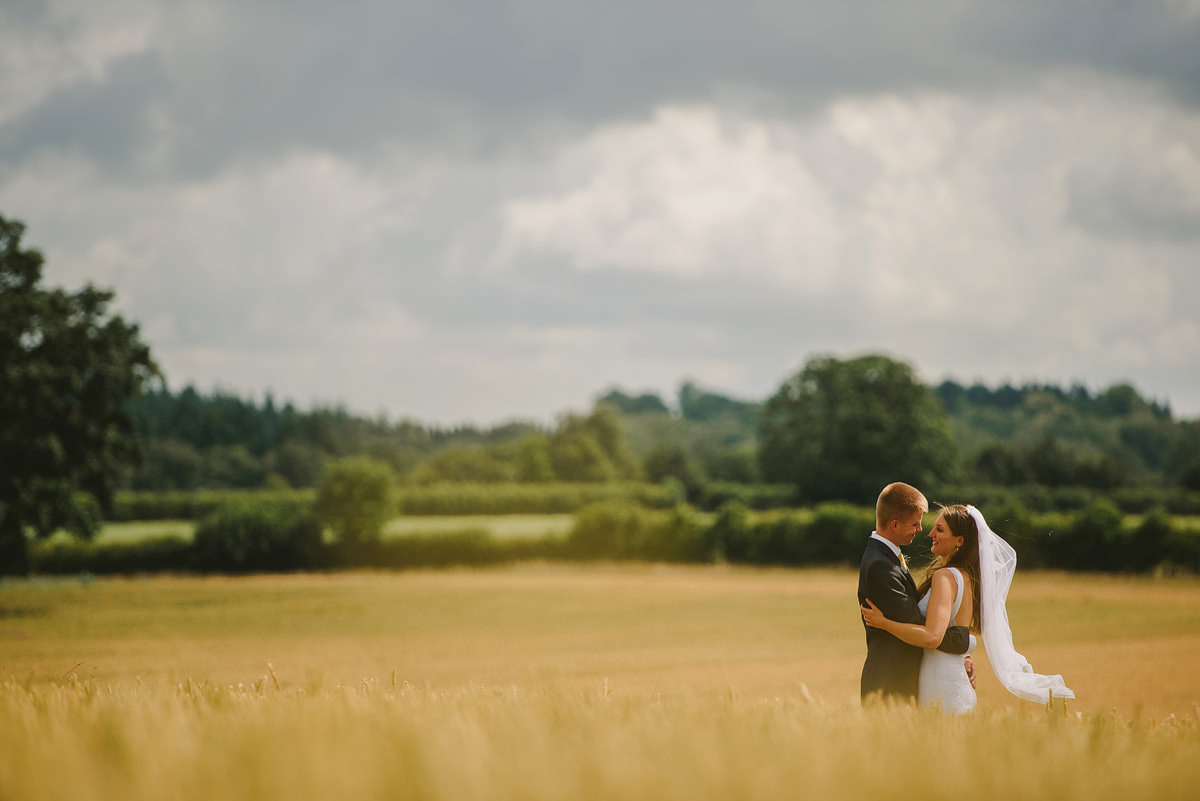 Shropshire corn field wedding photo