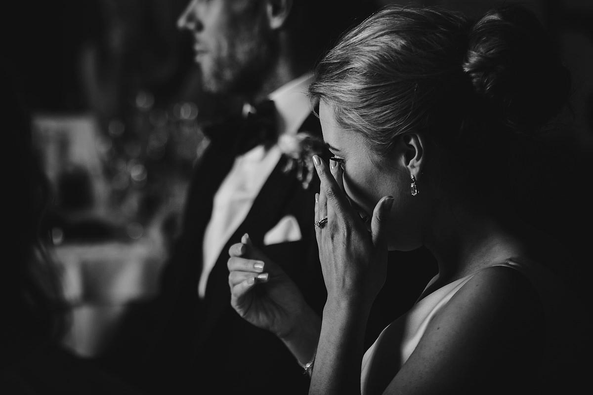 Bride crying to wedding speech