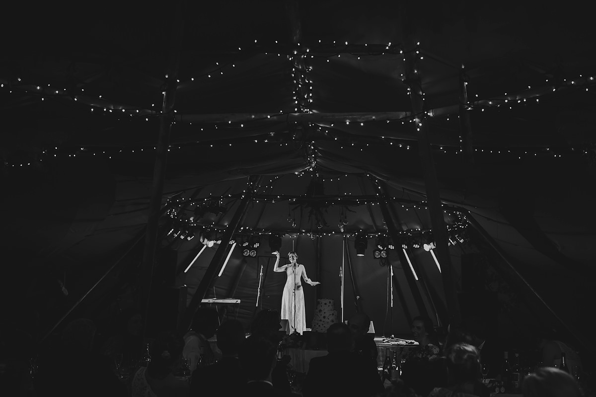 Bride's speech in a nicely lit tipi tent at Trevose