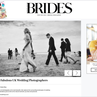 Named 1 of The Top 9 Wedding Photographers in the UK by Brides Magazine.
