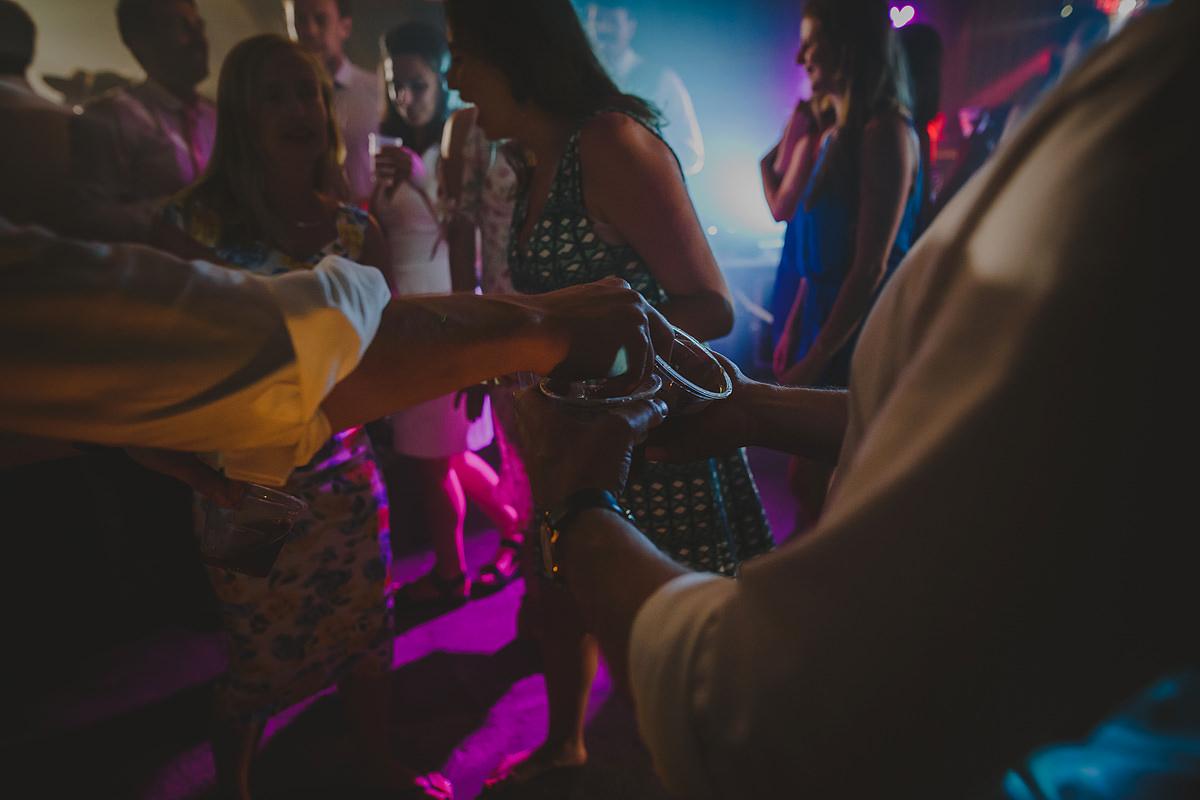 Drinks flowing on dance floor