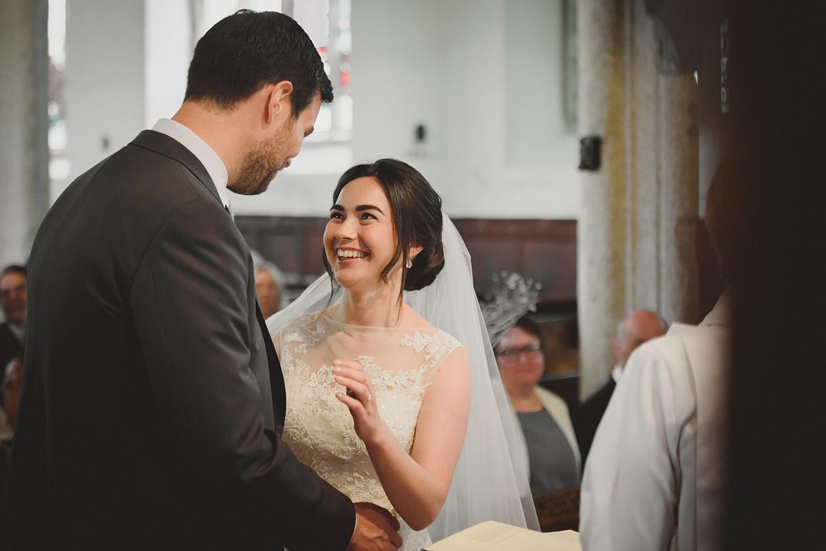 Wedding ceremony at All Saints Church in Holbeton Devon