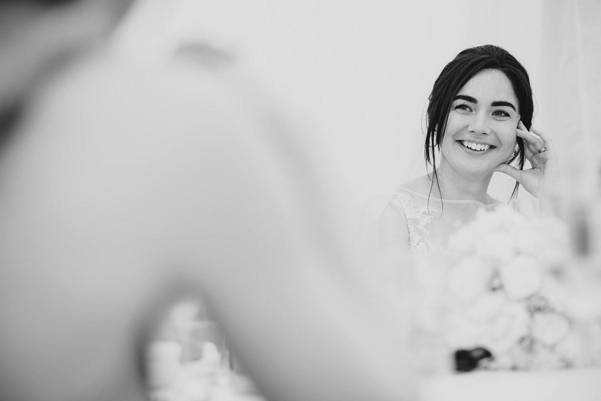 Bride's reaction to speeches