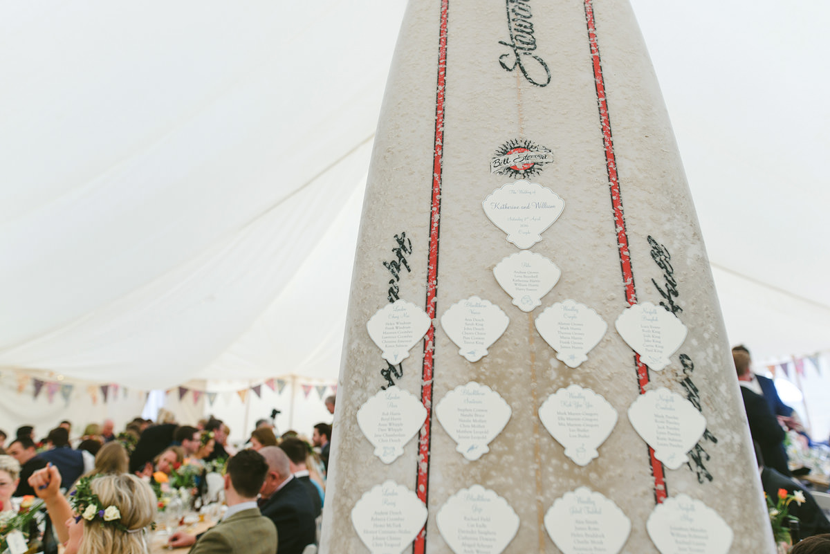 Marquee decoration at a wedding in Croyde