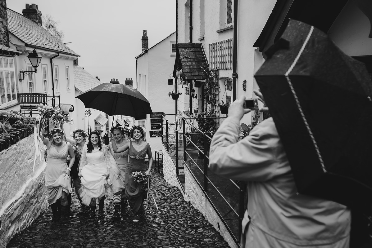 Bridesmaids and bride in Clovelly