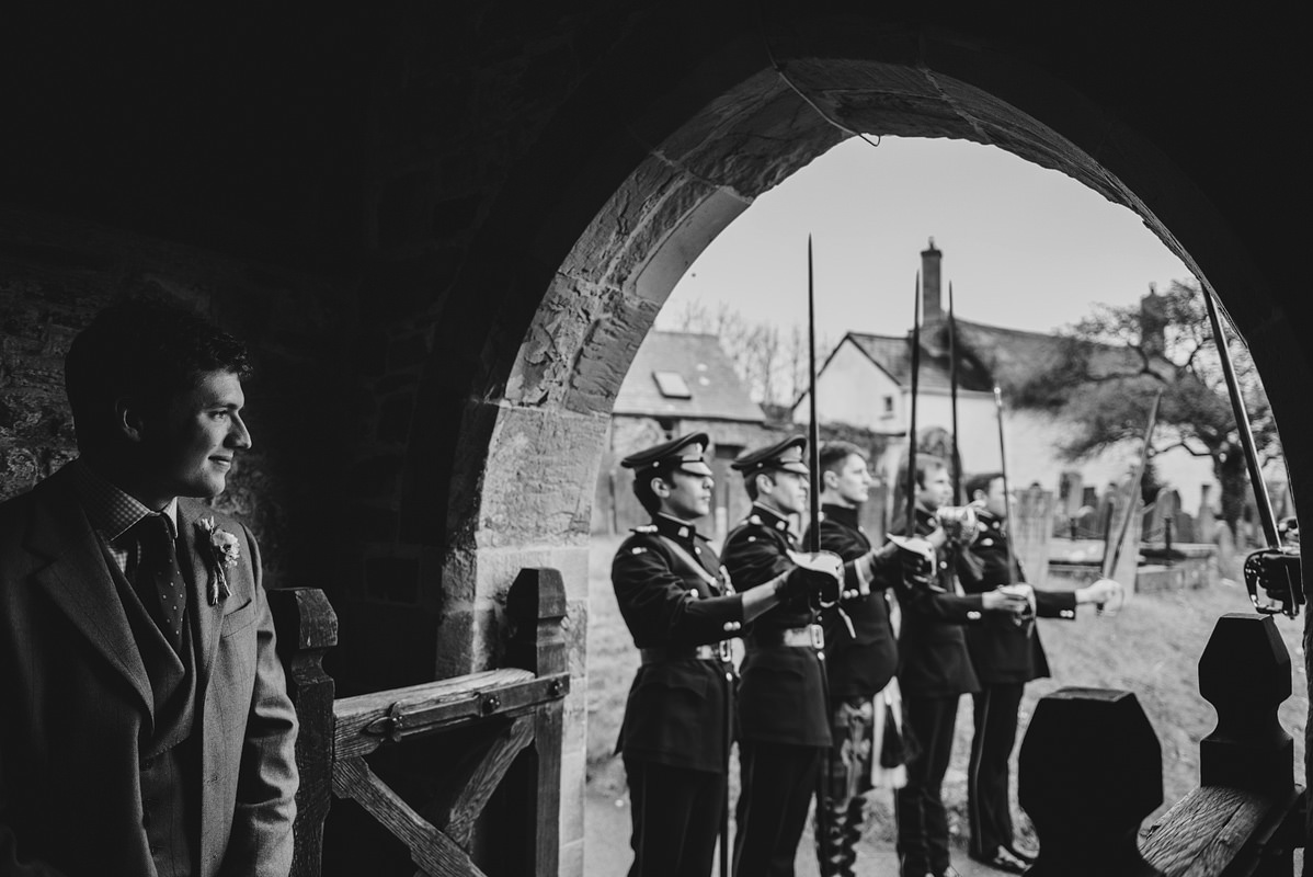 Groomsmen practicing guard of honour