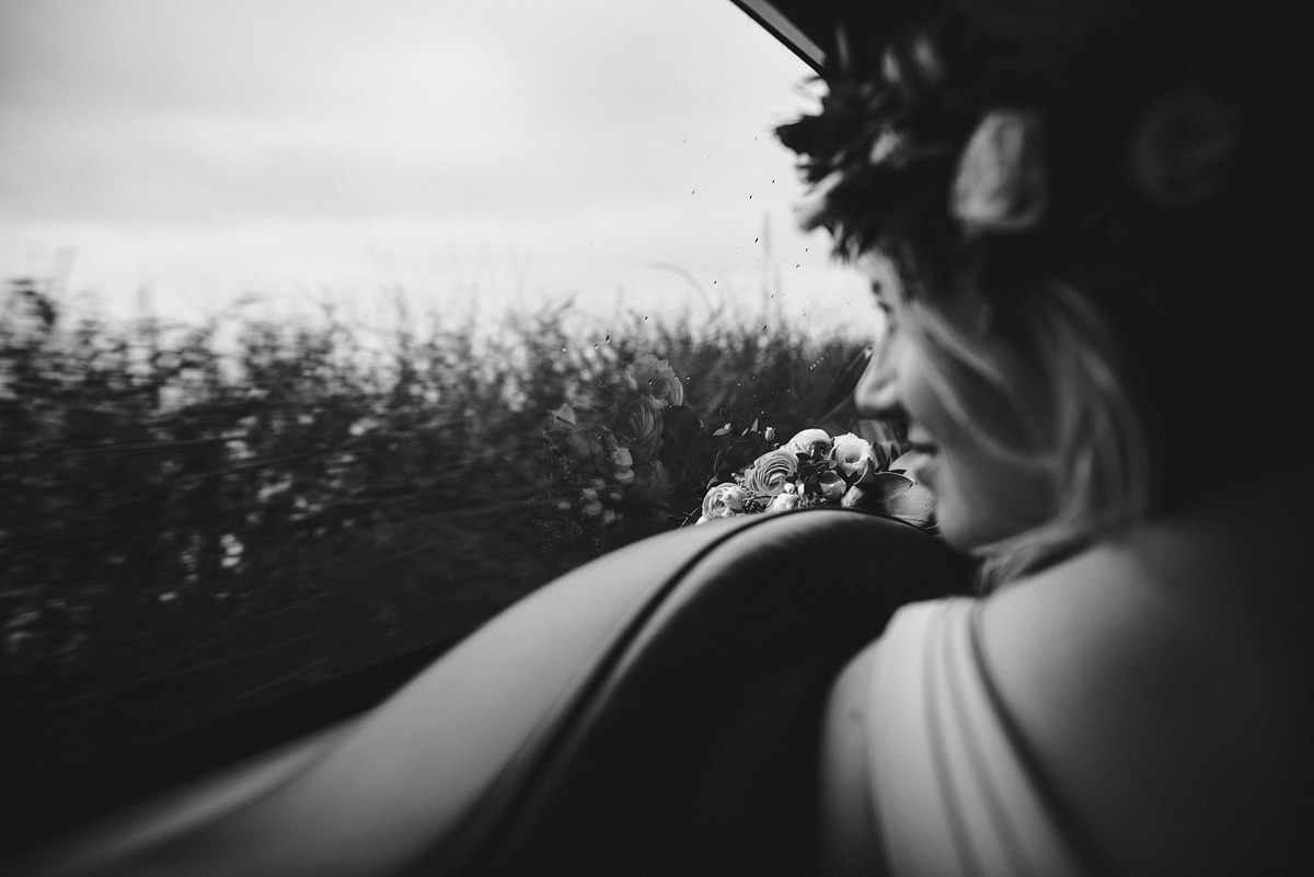 Bridesmaid in car on a way to wedding in Croyde