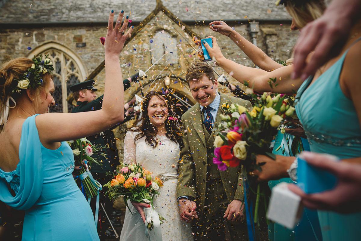 Wedding confetti at Georgeham Church