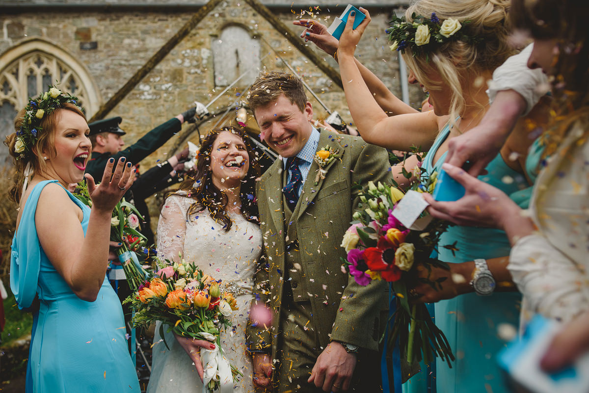 Wedding confetti at Georgeham Church
