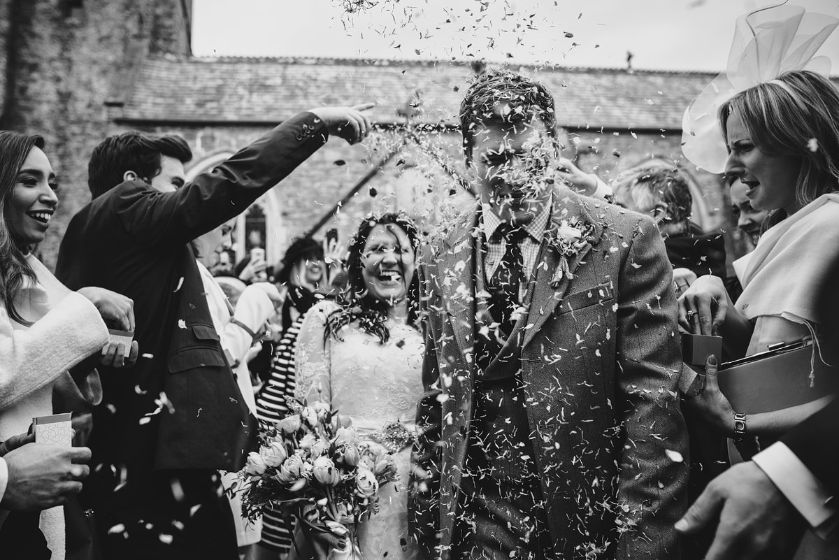 Wedding confetti at Georgeham Church, North Devon