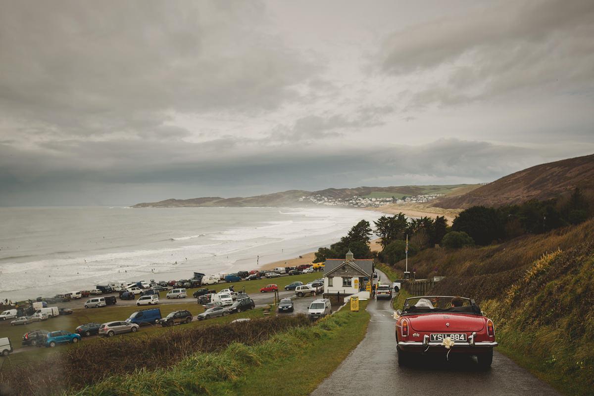 Bride and groom car at Putsborough Beach