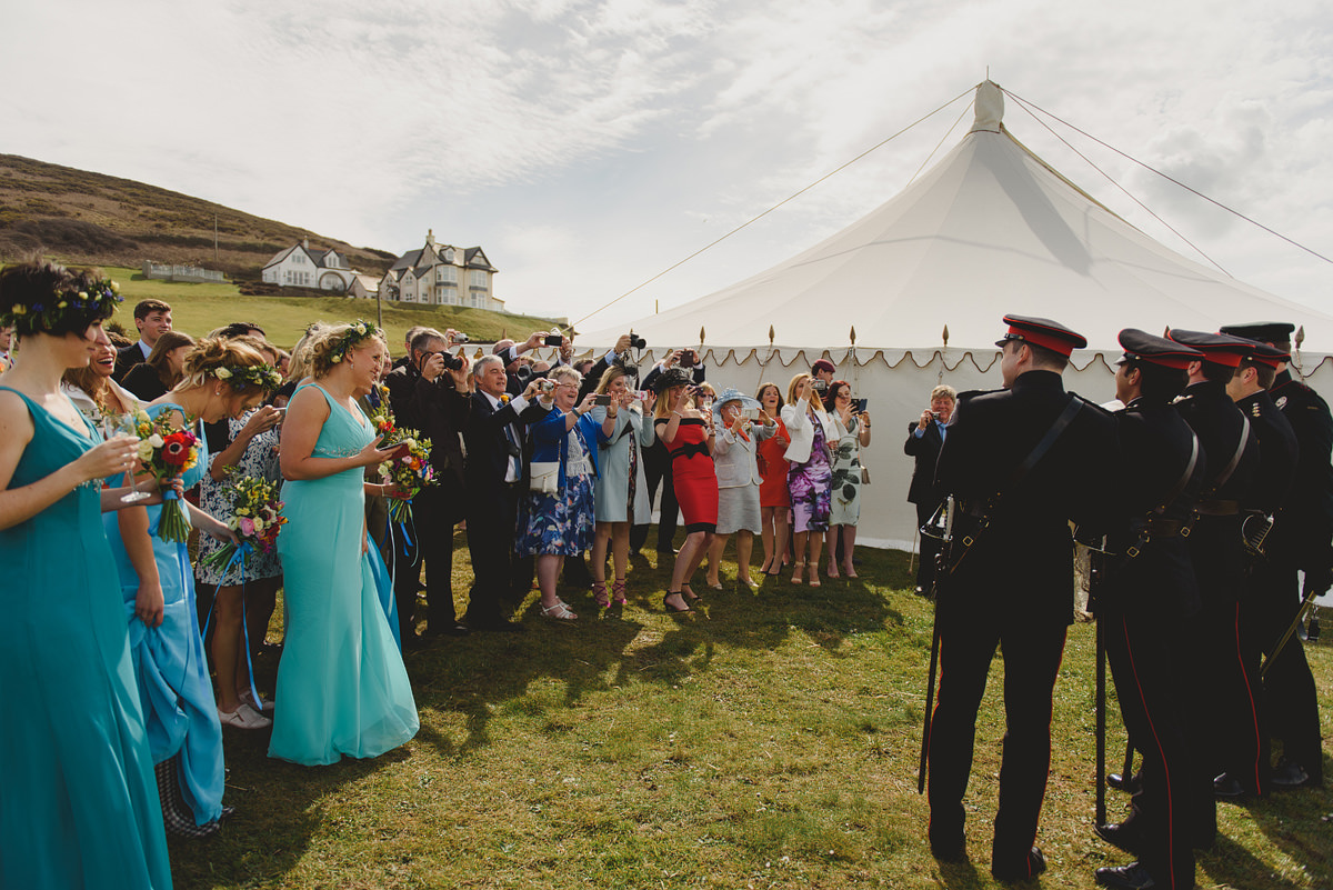 Guests having fun at a wedding in Croyde