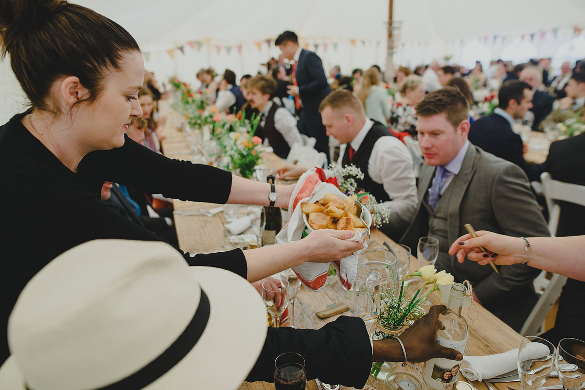Catering food at a wedding in Croyde