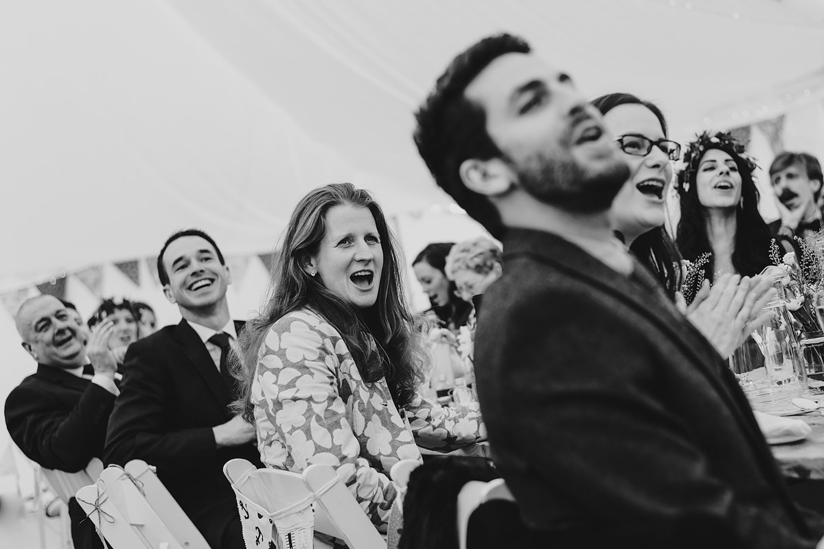 Guests at a Croyde marquee wedding