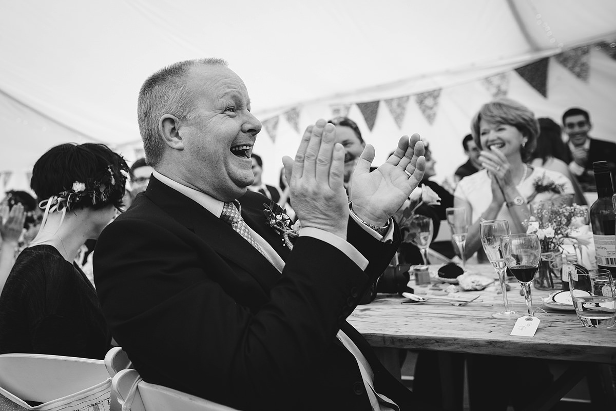 Guests laughter at a Croyde wedding