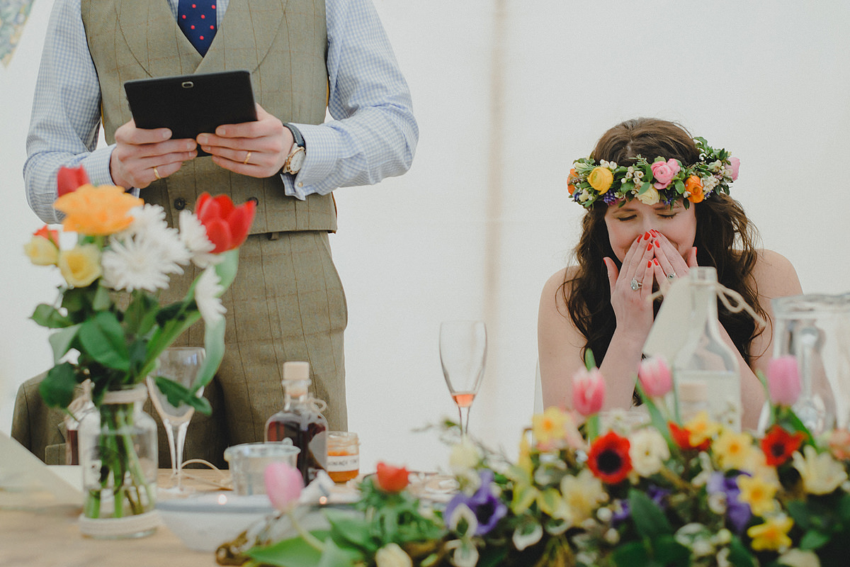 Bride crying during groom's speech