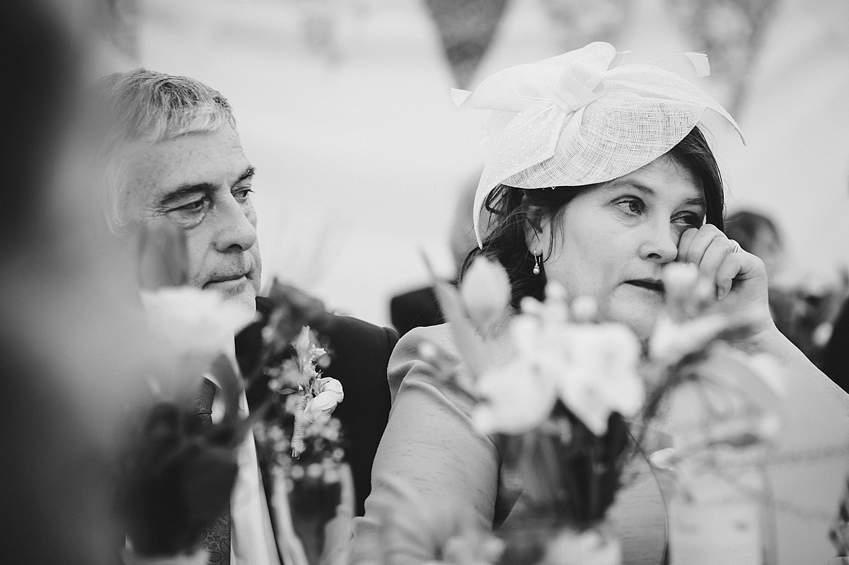 Mother of bride crying during speeches