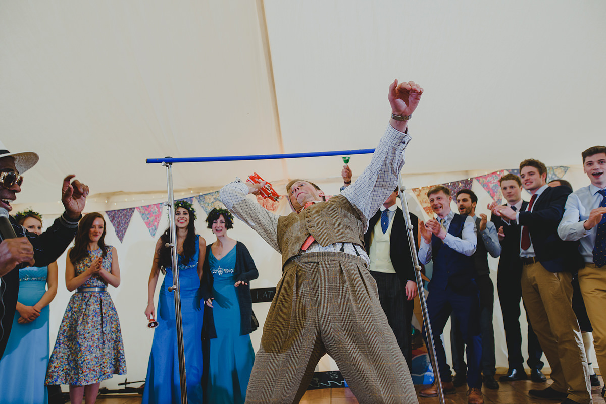 Limbo dancing at a Croyde wedding