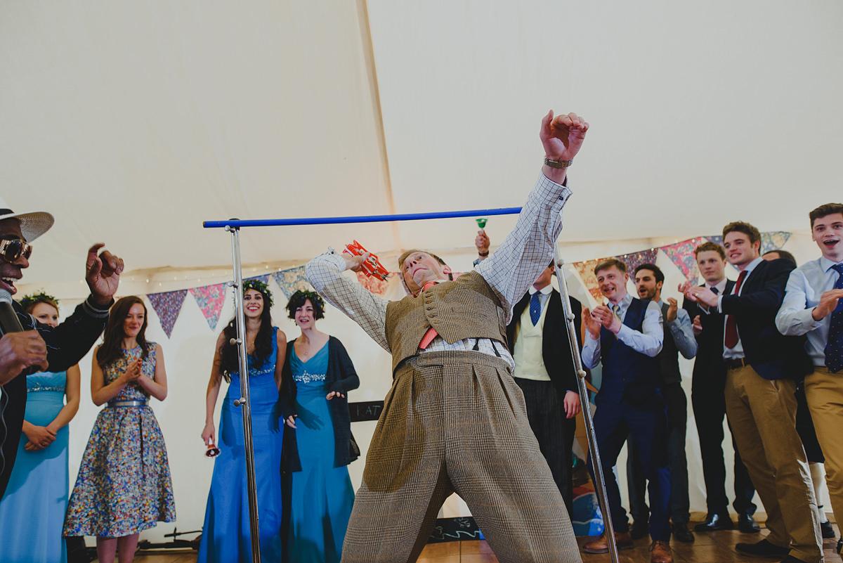 Limbo dancing at a Croyde wedding