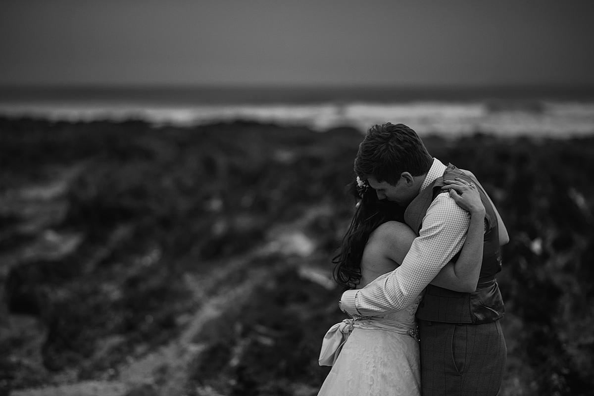 Bride and groom at Croyde beach
