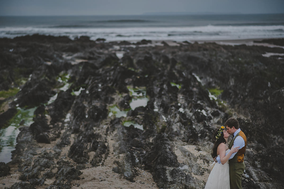 Bride and groom at Croyde beach
