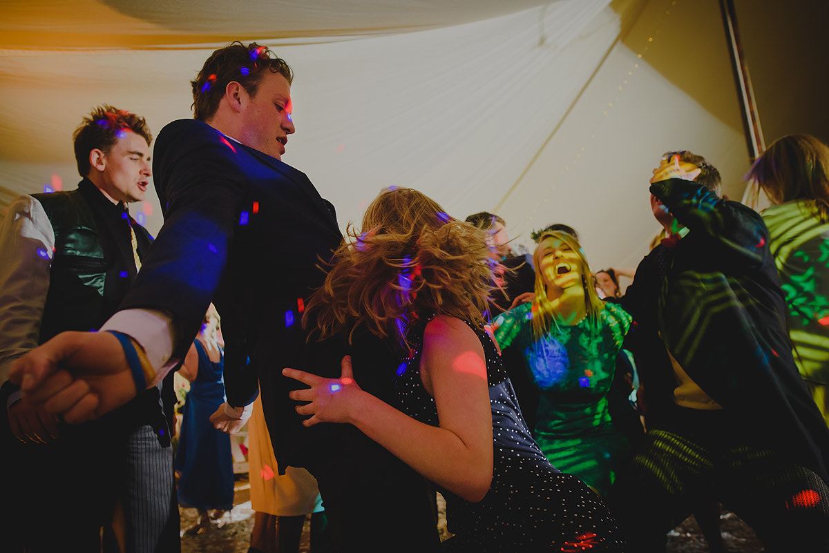 Guests dancing at a wedding in Croyde Bay