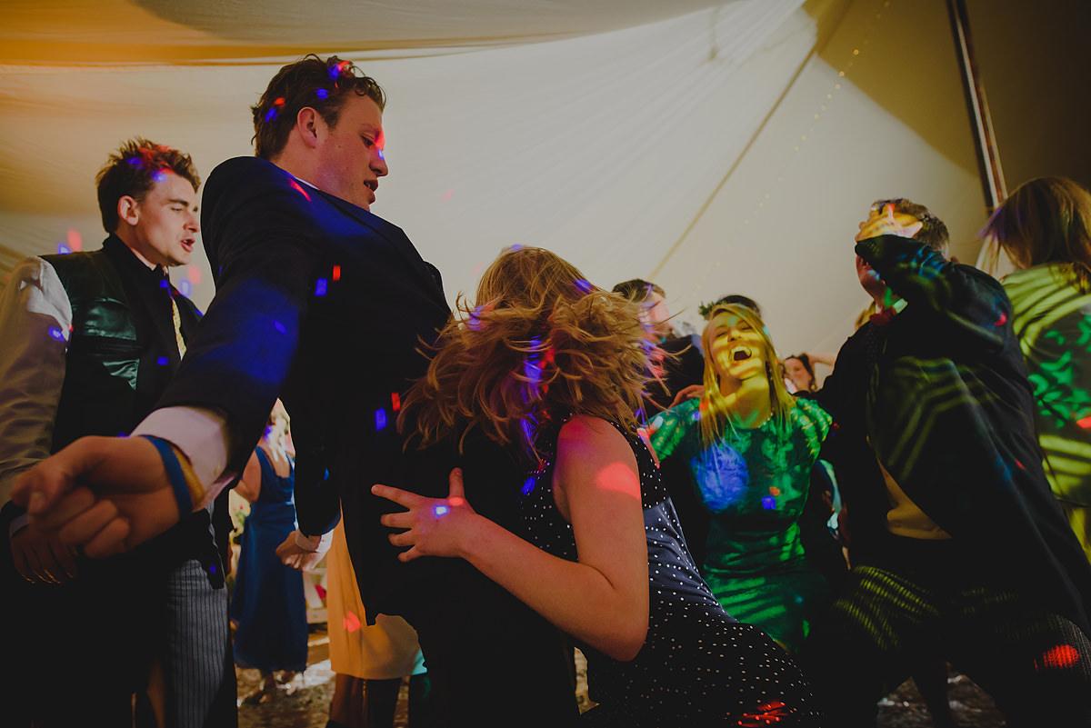 Guests dancing at a wedding in Croyde Bay