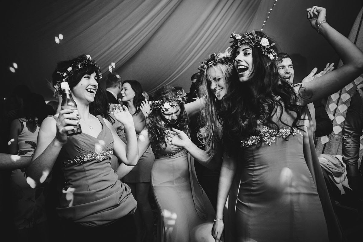 Bridesmaids dancing at a wedding in Croyde Bay