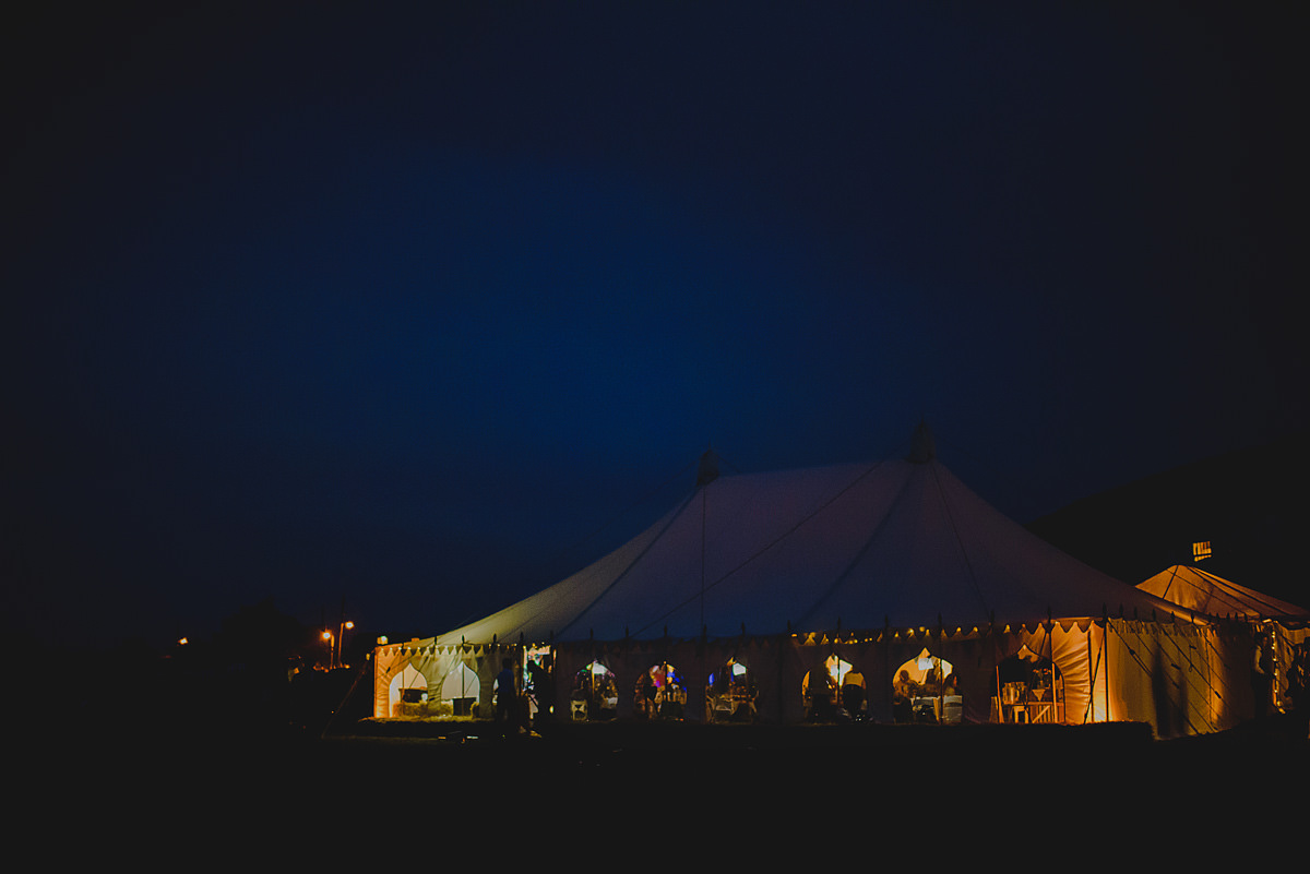 Croyde Bay weddings marquee at night