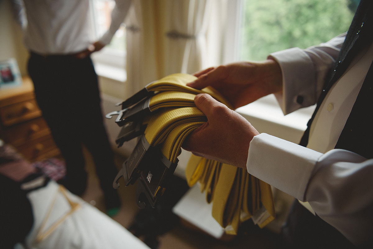 Groom yellow ties