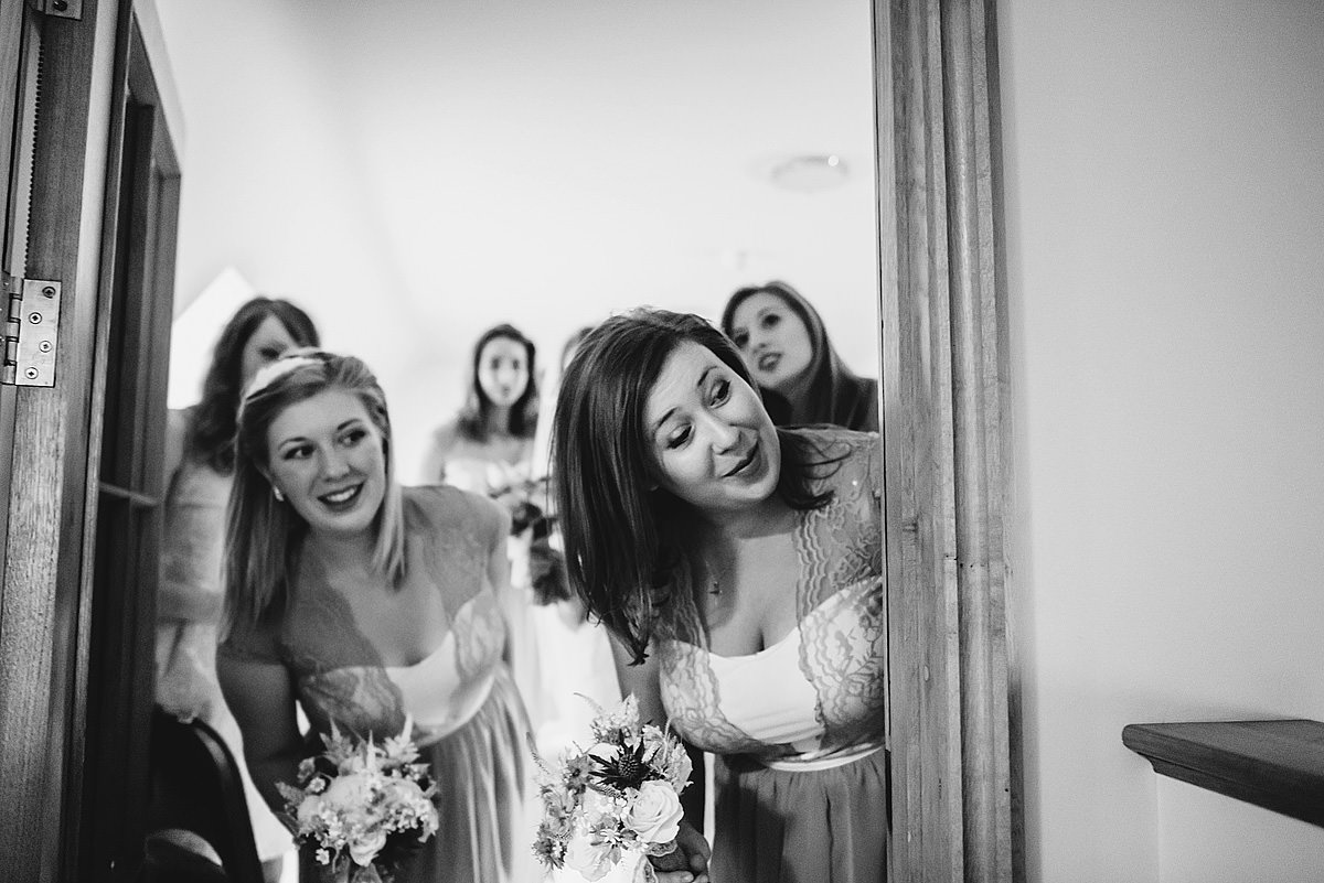 Bridesmaids peeking
