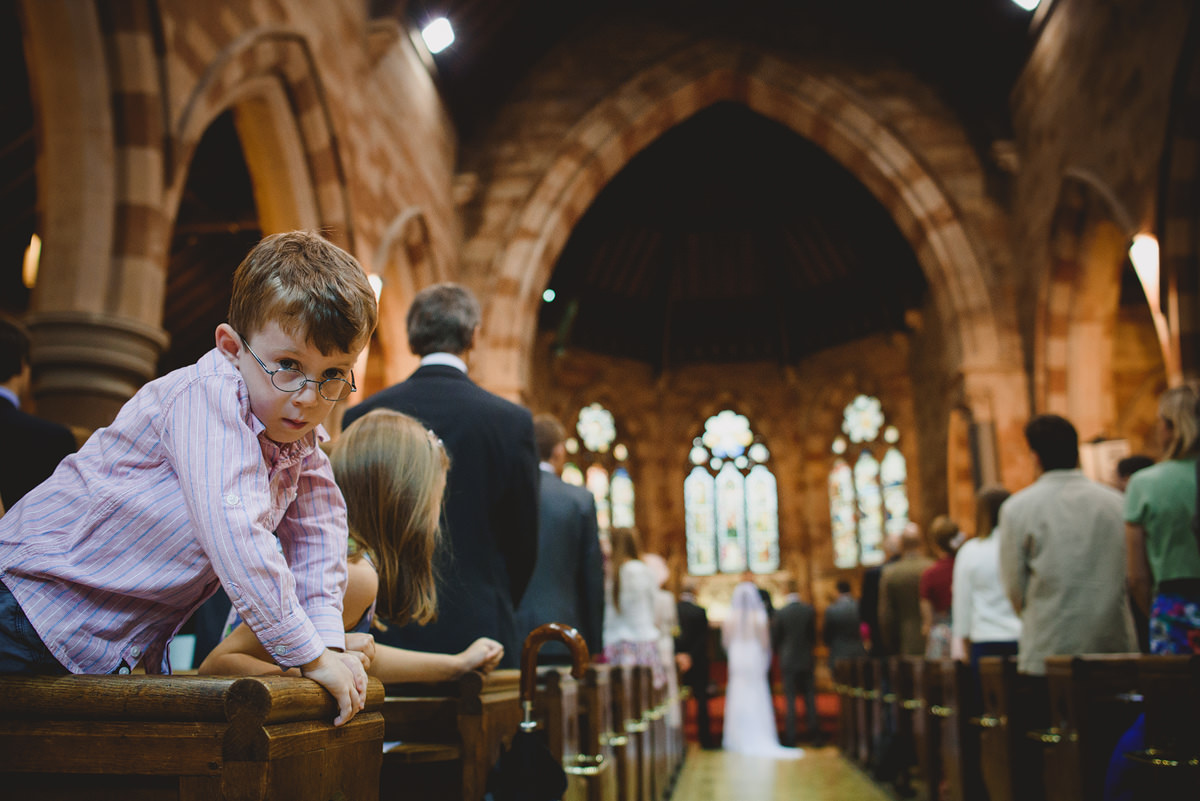 Curious boy in church