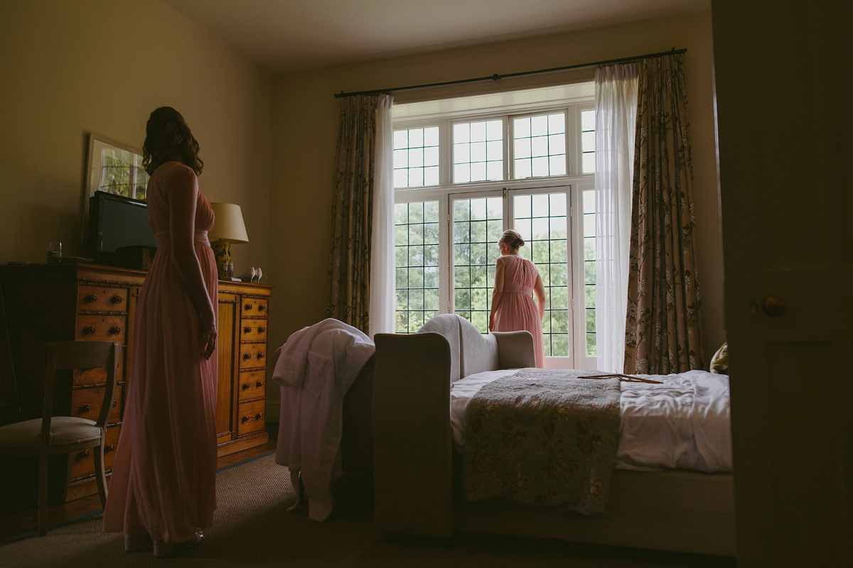 Bridesmaids getting ready at Hotel Endsleigh