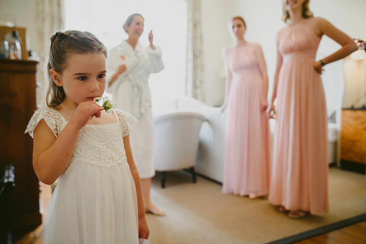 Cute flower girl at a Hotel Endsleigh wedding