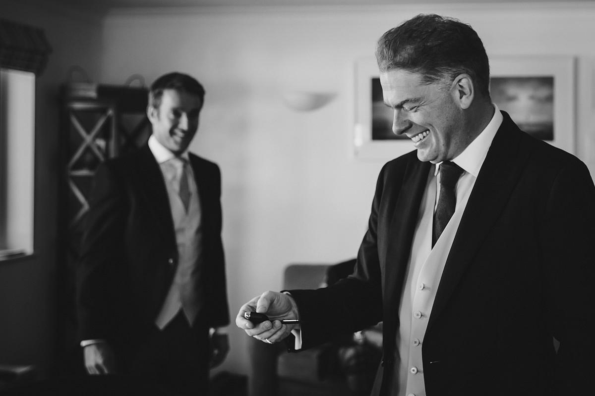 Groom getting ready for a Trevose Head wedding