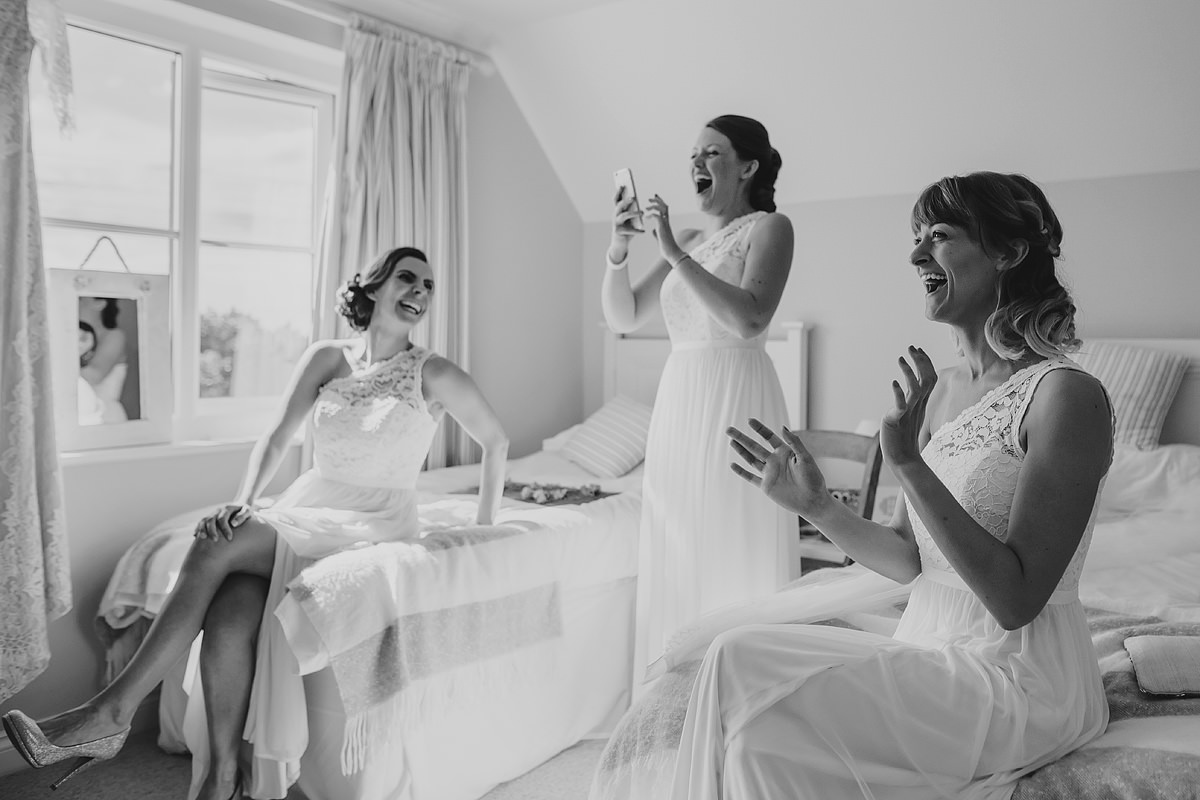 Excited bridesmaids