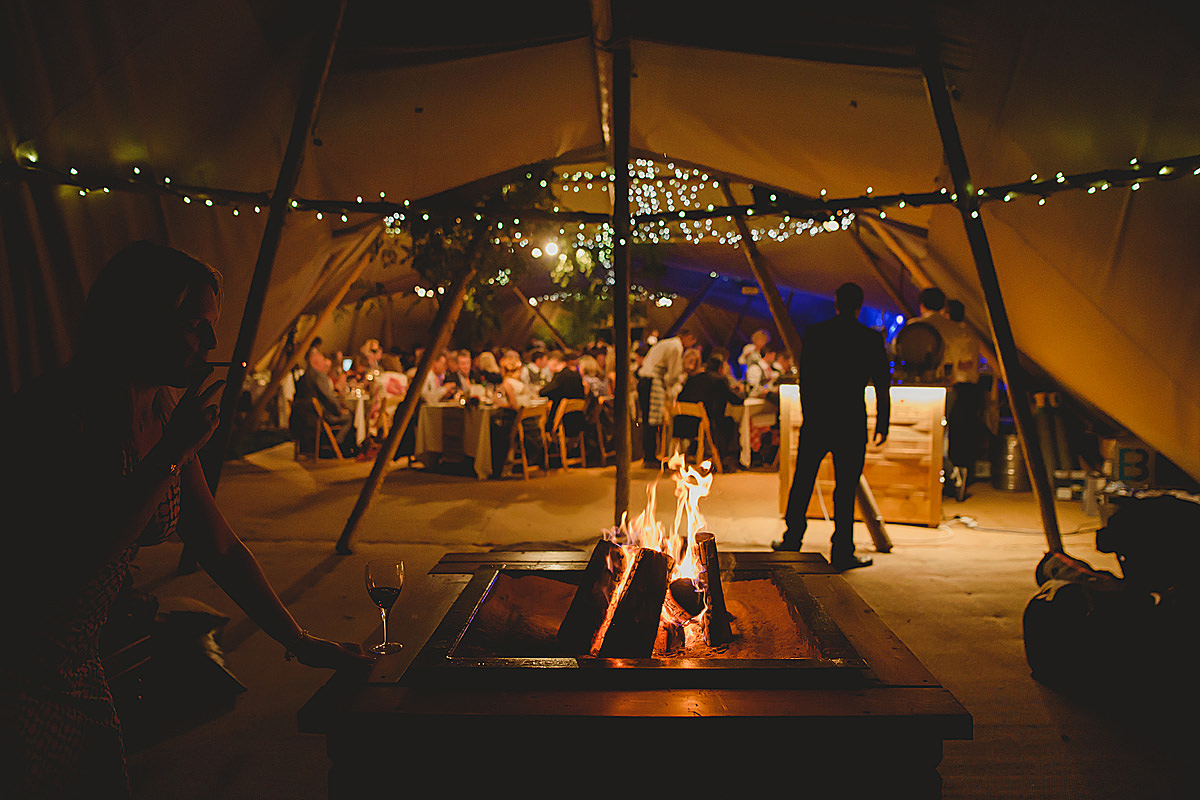 Inside a tipi at a Trevose Head wedding