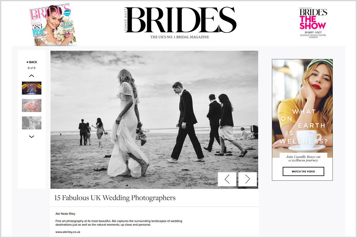 Named 1 of The '15 Best Wedding Photographers in the UK' by Brides Magazine.