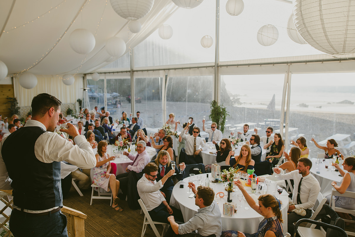 Speeches at a Lusty Glaze wedding
