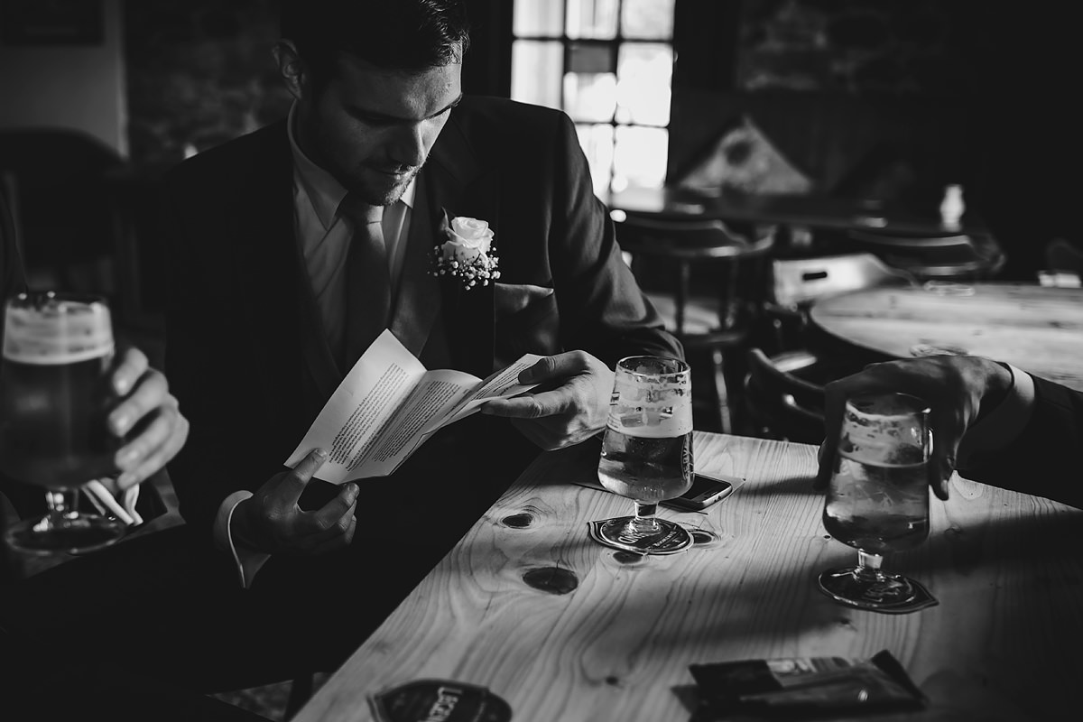 Groom preparing speech