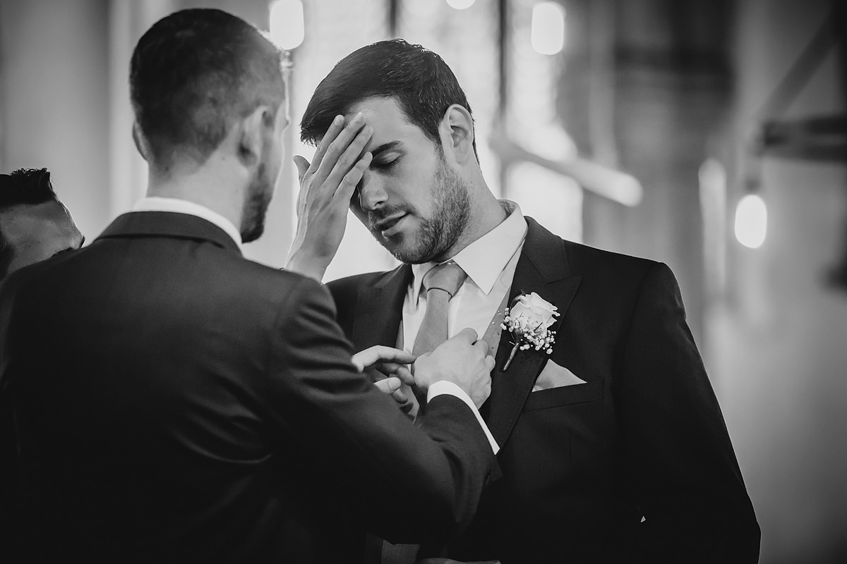 Groom waiting nervously for bride
