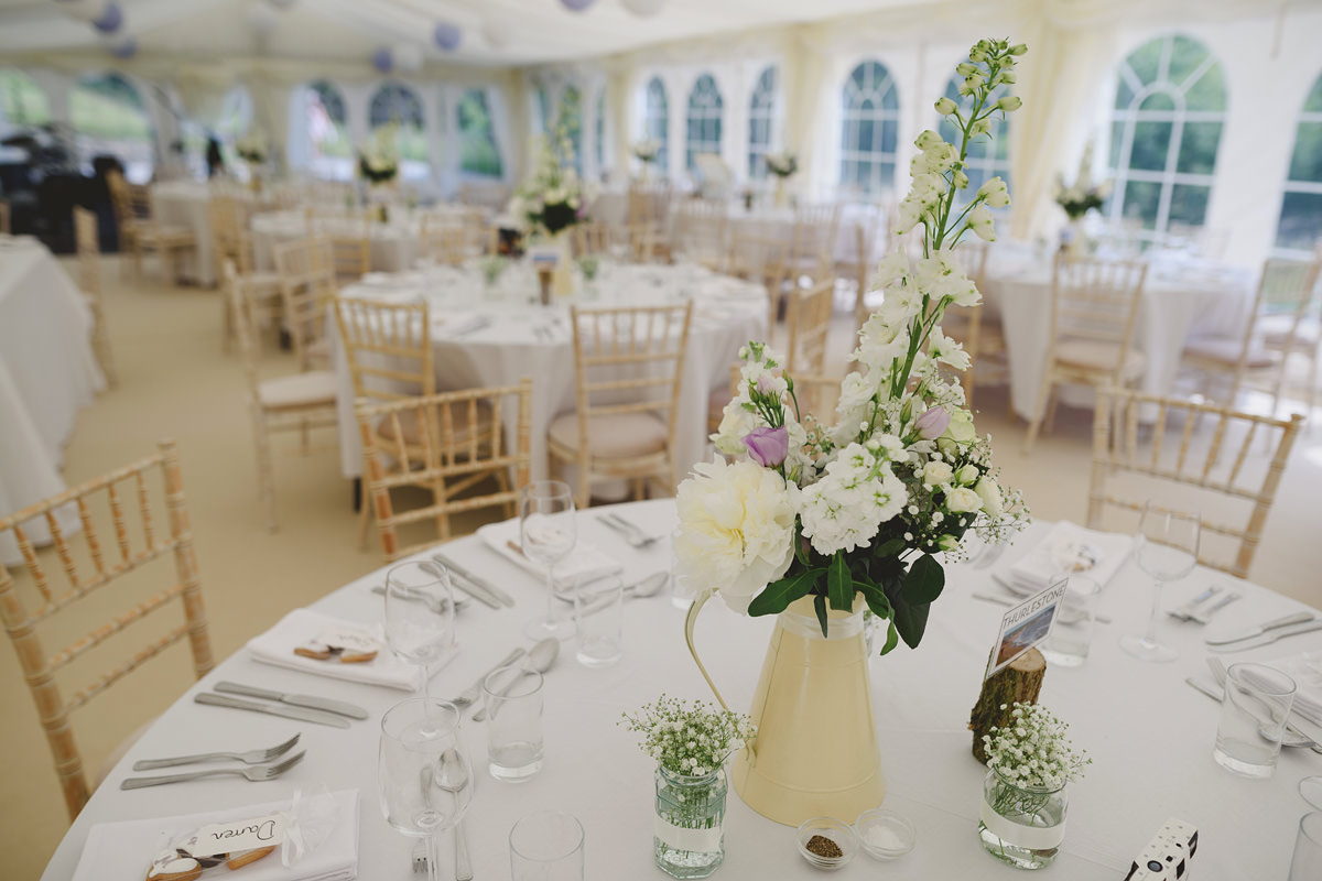 Wedding details in marquee at Pamflete House