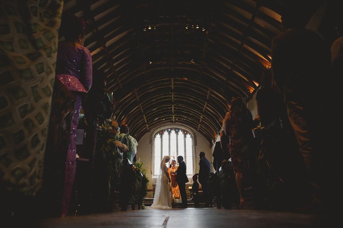 Wedding ceremony St Endellion Church in Cornwall