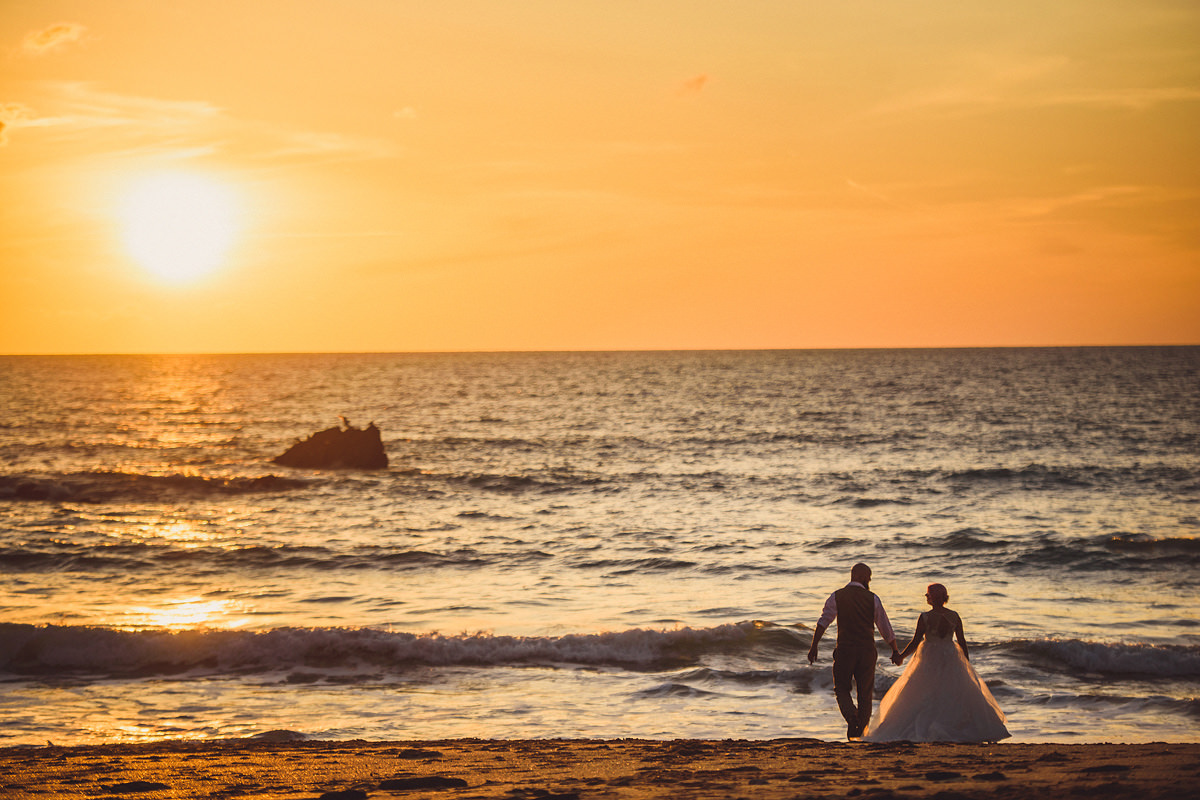 Lusty Glaze sunset wedding photography