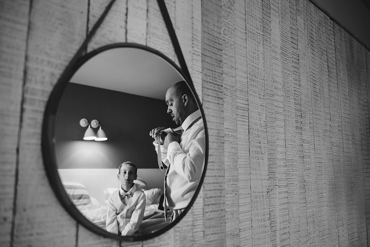 Groom getting ready at Watergate Bay Hotel